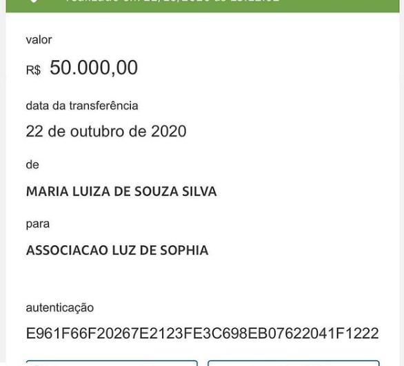 ONG Luz de Sophia recebe doação